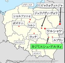 ポーランド、カジミエシュ・ドルヌィ地図