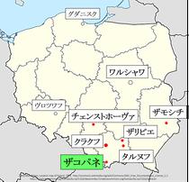 ポーランド、ザコパネ地図