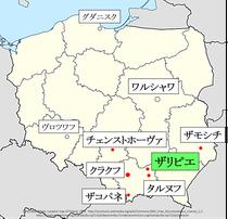 ポーランド、ザリピエ地図