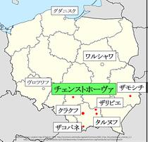 ポーランド、チェンストホーヴァ地図