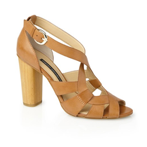 Tan wooden heeled sandals French Connection