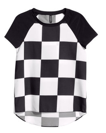 black and white chequered top
