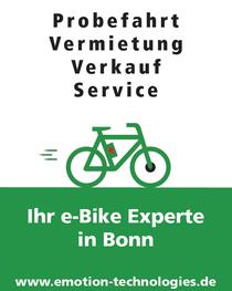 Probefahrt,Vermietung,Verkauf und Service: e-motion e-Bike Welt Bonn