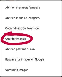 """Para poder descargar una plantilla deberás abrir en enlace con Google Chrome o otro proveedor de interner y dejar aplanado hasta que la lista de opciones aparezca y darás en """"Guardar imágen"""" o """"Descargar imágen""""."""
