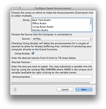 Configure options for making announcements.