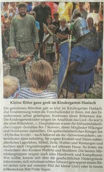 Zeitungsbericht der Traunsteiner Tablatt