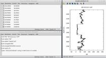 GnuPlot, in der Kommandozeile ausgeführt. Oben Links die Datenquelle, unten Links das GnuPlot-Script, Rechts der Plot.