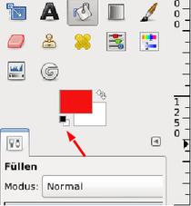 In diesem Beispiel ist die Vordergrundfarbe Rot, die Hintergrundfarbe Weiß. Wer das wieder auf Standard zurückstellen will (Schwarz und Weiß), klickt einfach auf das kleine Schwarz-Weiß-Klötzchen links unterhalb der Vordergrund-Hintergrund-Farb-Auswahl.