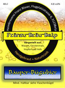 Bäuper-Bügelbier Prmium Pilsner Fränzu bräu belp