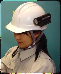 ※ヘルメットに装着した場合のイメージ