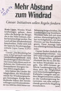 Bericht in der Lippischen Landeszeitung: Mehr Abstand vom Windrad