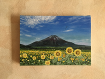 Mt Fuji in summer with sunflowers