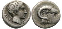 Caria; Coin from Halikarnassos 5th. Century B.C.; Hemiobol