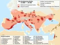 Karte der Aurignacien-Kultur zwischen 37 000 und 28 000 Jahre v. Chr.