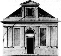 Rysunek synagogi sieradzkiej w projekcie H. Szpilowskiego