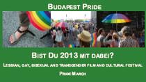 Flyer mit dem Aufruf zur Teilnahme an der 18. Budapest Pride 2013