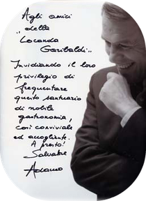 Adamo's dedication to the guests of Locanda Garibaldi