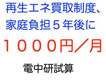 再生エネ買取制度、家庭負担5年後月1000円 電中研