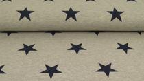 Sommersweat hellgrau mel. mit marineblauen Sternen