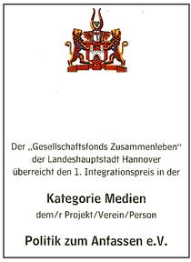 1. Integrationspreis der Landeshauptstadt Hannover