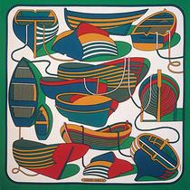 Pierre Péron, Carré Hermès Thalassa, 1972,sérigraphie sur textile, collection particulière.© Petit Design.