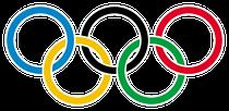 Die fünf Olympischen Ringe symbolisieren die fünf an den Olympischen Spielen beteiligten Kontinente Afrika, Amerika, Asien, Australien und Europa.