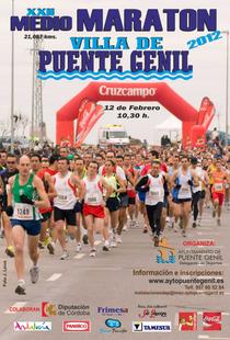 Cartel anunciador de la prueba donde se ve a los  lucentinos Antonio Burguillos y Francisco Pedraza en el centro de la imagen, atletas del Club Atletismo y Triatlon de Lucena