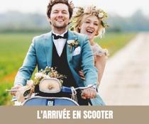A chaque semaine, son moyen de transport original pour les mariés ! Scooter