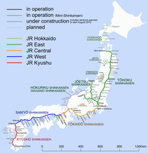 Route map of shinkansen