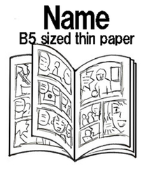 """""""name"""" drawn on stapled copy paper"""