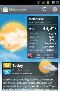 Am 16.01.2014 um 15:30 Uhr waren es 43,3 Grad, eine Stunde später bereits über 44...