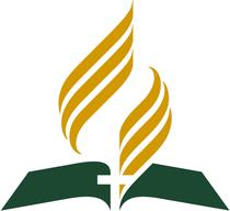Drei wichtige Symbole: Die Bibel ist die Grundlage, das Kreuz steht im Mittelpunkt, die Flamme des Heiligen Geistes lässt unseren Glauben lebendig werden
