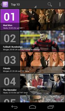"Die ""Top 10"" in der Android-App. © Screenshot Couchfunk"