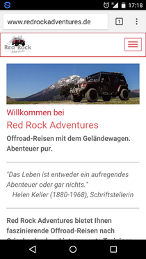 Screenshot der mobilen Website