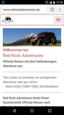 Screenshot der mobilen Website