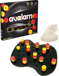 Avalam, beautiful material in wood. Red wins with 7 points - yellow has 6 points.
