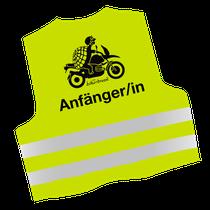 Warnweste mit Motiv Motorrad und Text Anfänger/in