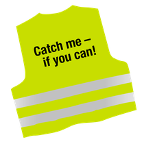 Warnweste mit Text Catch me - if you can!