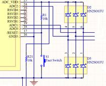 ダイオードアレーを使用したADコンバー用保護回路の一例