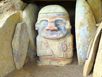 Statue in Originalfarbe in Purutal- San Agustin - Kolumbien
