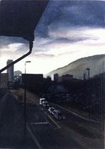"""""""Ateliersicht"""" 2014, Öl auf Sperrholztafel, 21x14.8"""