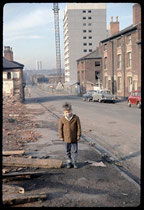 Photograph of old houses and new flats in Great Russell Street, Newtown. The photograph was taken in early 1967 by Phyllis Nicklin.