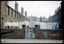 """Princip Street, 'iimproved' back-to-back housing ie. with the front of the court removed for better ventilation, known locally as """"Nettlefold Courts"""" after the chair of the Housing Committee.Photograph by Phyllis Nicklin - See Acknowledgements Keith Berry"""