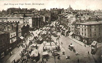 The Bull Ring - date unknown - presumably taken from the top of St amrtin's-in-the-Bull Ring. Grateful thanks to Dave Gregory for permission to reproduce this image. Go to Acknowledgements for a link to the Postcards of the Past website.