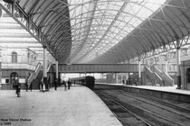 New Street station in the 1880s. Image was uploaded to the English Wikipedia by en:user:Erebus555. This image is in the public domain because its copyright has expired. See Acknowledgements for a direct link to Wikipedia.
