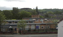 The Roman Catholic school of St James, Rednal Hill in the background