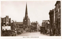 Postcard of the Bull Ring c1950. Image suppied by a member of the Birmingham History Forum. See Acknowledgements for a link to that website.