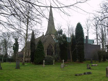 The east end of Boldmere Church. The controversial 1964 blue-brick rebuilding can be seen on the right of the church.