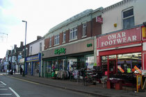 Shops on Alum Rock Road; Aftab's was built as a Woolworth's store. The former Rock public house is in the far left of the picture.