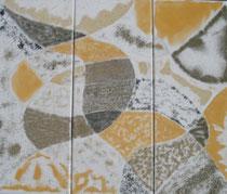 Sandiges Trio  2010; Mischtechnik auf Leinwand; BxH  60(3x20)x50 cm